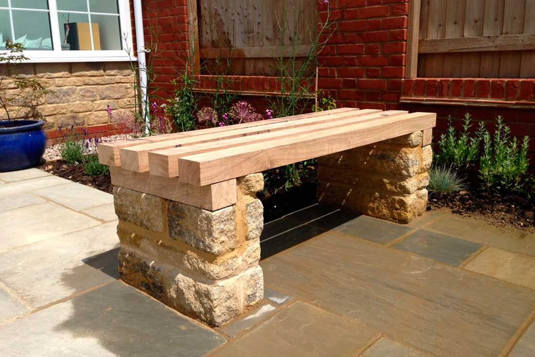 Landscaping Bespoke timber & stone bench