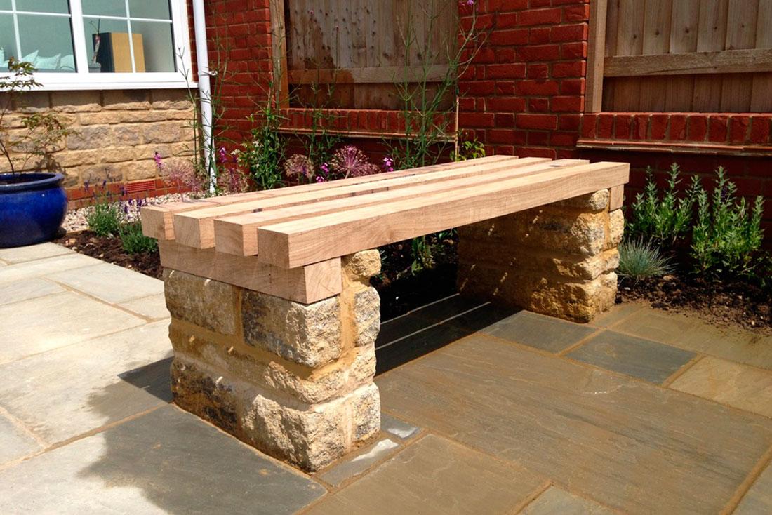 Landscaping Bespoke timber & stone bench